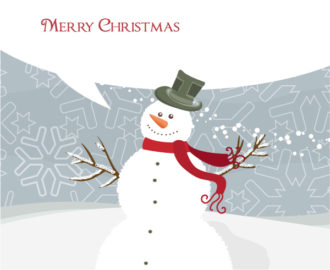 Vector Christmas Greeting Card With Snowman Vector Illustrations vector
