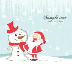 Vector Christmas Greeting Card With Snowman And Santa Vector Illustrations vector