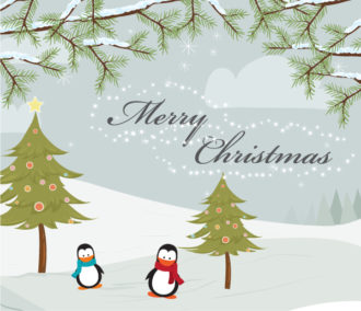 Vector Christmas Greeting Card With Penguins Vector Illustrations tree