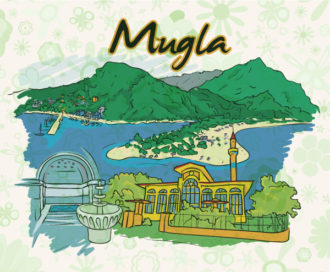 Mugla Doodles With Floral Vector Illustration Vector Illustrations building