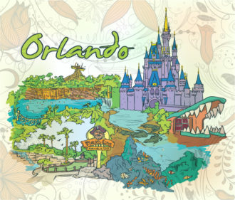 Orlando Doodles With Floral Vector Illustration Vector Illustrations building