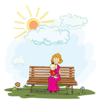 Mom With Baby Vector Illustration Vector Illustrations floral