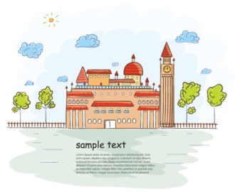 Castle With Trees Vector Illustration Vector Illustrations tree