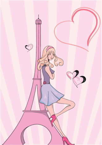 Paris Doodles With Lady Vector Illustration Vector Illustrations vector