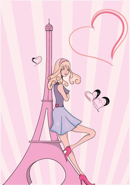 Lady, Paris, With Vector Design Paris Doodles With Lady Vector Illustration 1