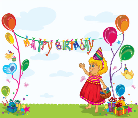 Striking Party Vector Background: Kids Birthday Party Vector Background Illustration 27 7 2011 102