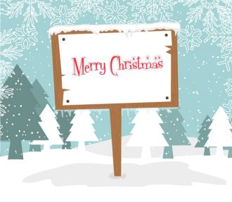 Vector Winter Background With Wood Sign Vector Illustrations tree