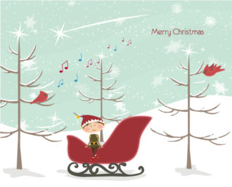 Vector Winter Background With Elf Vector Illustrations tree