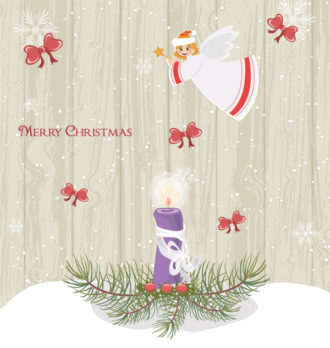Vector Winter Background With Candle Vector Illustrations vector