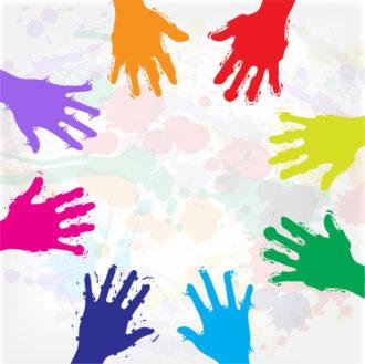 Grunge Colorful Hands Vector Illustration Vector Illustrations vector