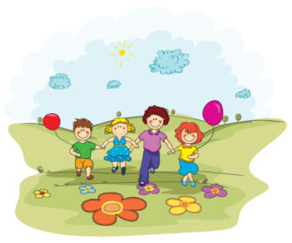 Vector Cartoon Background With Kids Vector Illustrations floral