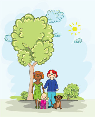 Vector Cartoon Background With Family Vector Illustrations tree