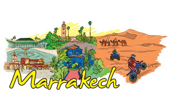 Illustration Vector: Marrakech Doodles Vector Illustration 1
