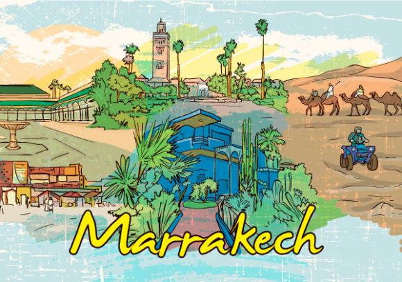 Trendy Grungy Vector Image: Marrakech Doodles Vector Image Illustration 1