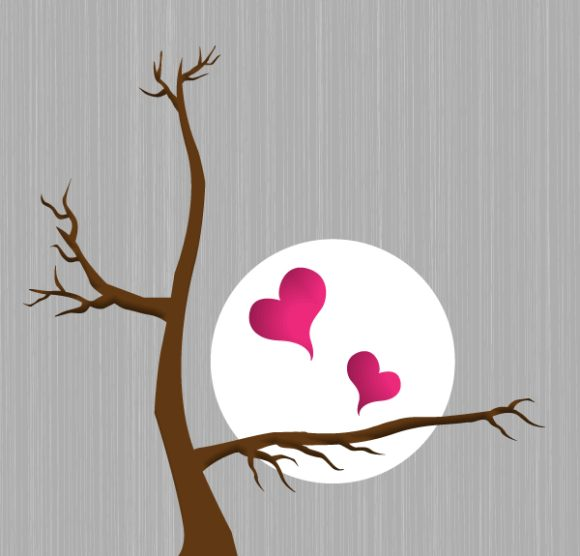 Bold With Vector Illustration: Vector Illustration Hearts With Tree 5