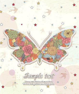 Vector Butterfy Made Of Floral Vector Illustrations star