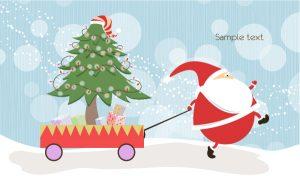 Vector Santa With Tree Vector Illustrations tree