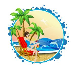 Summer Frame Vector Illustration Vector Illustrations palm