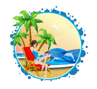 Summer Frame Vector Illustration Vector Illustrations palm