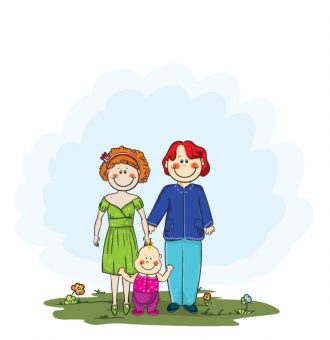 Vector Cartoon Background With Family Vector Illustrations floral
