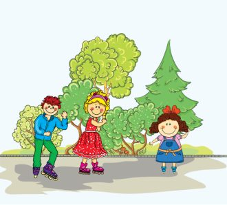 Vector Cartoon Background With Kids Vector Illustrations tree