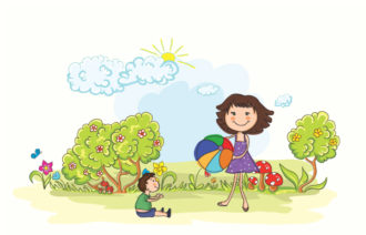 Vector Cartoon Background With Mom And Son Vector Illustrations ball
