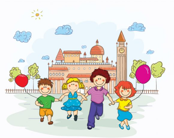 Kids Playing Vector Illustration Vector Illustrations tree