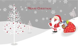 Vector Santa With Presents Vector Illustrations tree