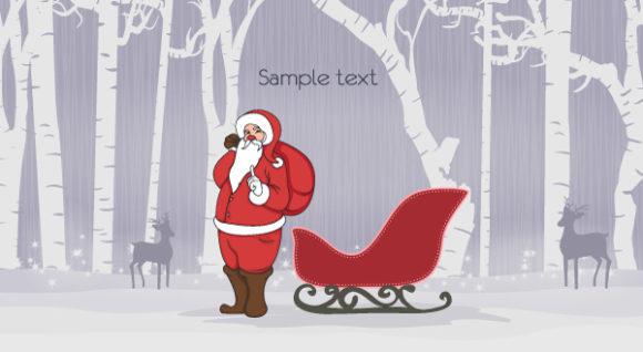 Reindeer, Vector, Christmas Vector Vector Christmas Background With Santa 29 9 2011 113