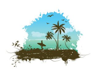 Vector Summer Grunge Frame Vector Illustrations palm
