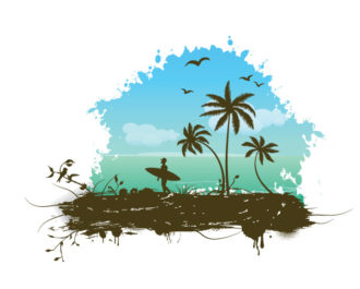 Vector Summer Grunge Frame Vector Illustrations palm