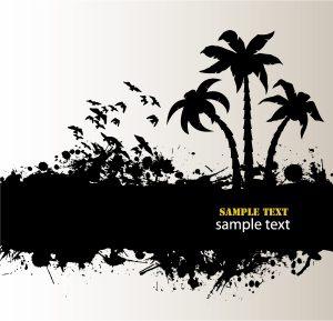 Vector Summer Grunge Background Vector Illustrations palm