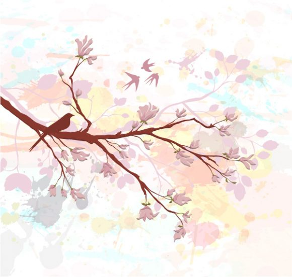 Grunge Vector Artwork: Bird On A Branch Vector Artwork Illustration 5