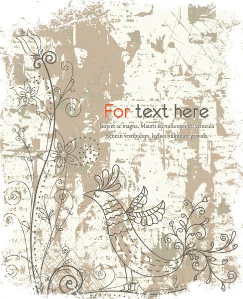 Awesome Vector Vector Art: Grunge Floral Background Vector Art Illustration 5