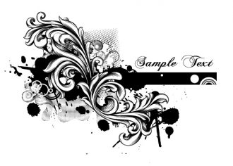 Grunge Floral Vector Illustration Vector Illustrations old