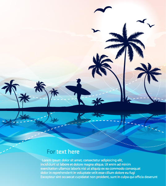 Illustration Vector Graphic Summer Background With Palm Trees Vector Illustration 30 03 2011 7
