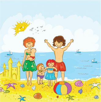 Family At The Beach Vector Illustration Vector Illustrations sea