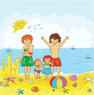 Family At The Beach Vector Illustration Vector Illustrations sea