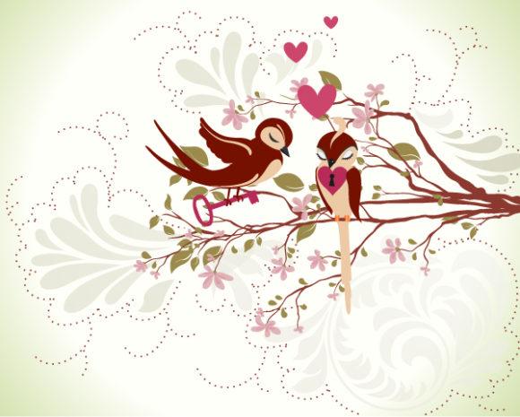 Illustration, Plant Vector Love Birds Vector Illustration 5