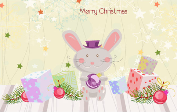 Striking Vector Vector: Vector Bunny With Presents 5