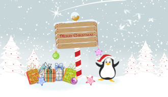 Vector Penguin With Presents Vector Illustrations tree