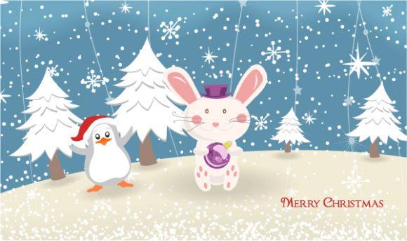 Vector Vector Illustration Vector Bunny With Penguin 5