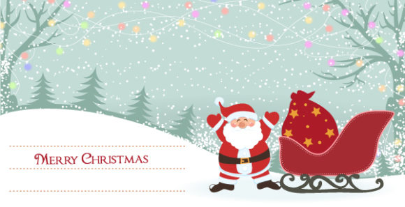 Card, Santa, With, Vector, Greeting Vector Graphic Vector Christmas Greeting Card With Santa 5