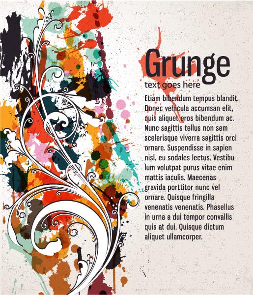 Floral, Illustration, Vector, Vintage-2, Dirt Eps Vector Grunge Floral Background Vector Illustration 5