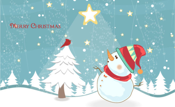 Background, Illustration, Abstract-2, Winter Eps Vector Winter Background With Snowman Vector Illustration 5