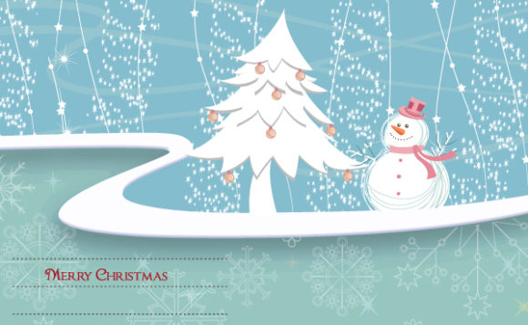 Winter Background With Snowman Vector Illustration Vector Illustrations tree