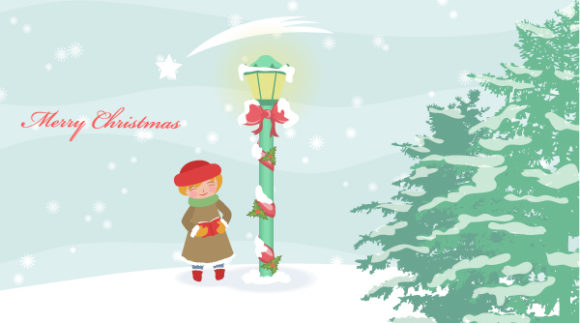 Christmas Vector Graphic: Winter Background Vector Graphic Illustration 5