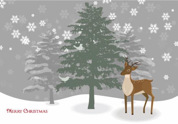 Reindeer With Tree Vector Illustration Vector Illustrations tree