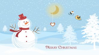 Snowman With Birds Vector Illustration Vector Illustrations tree