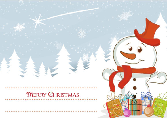 Vector Vector Image: Snowman With Presents Vector Image Illustration 4 10 2011 114